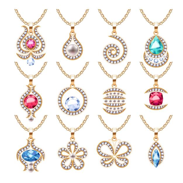 Sieraden hangers set. gouden kettingen met edelstenen. kostbare kettingen met diamanten, parels, robijnen. illustratie. goed voor juwelierszaak. Premium Vector