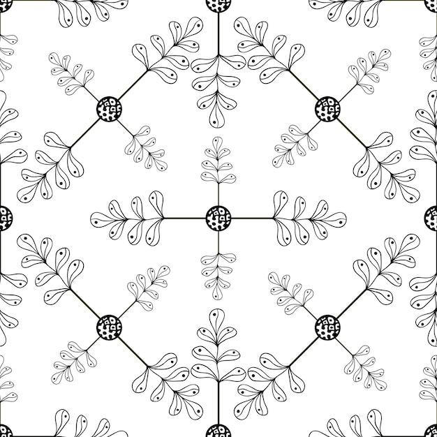 Sierhand getrokken bladerenachtergrond. naadloze patroon met bladeren voor uw ontwerp-wallpapers, opvulpatronen, webpagina-achtergronden, oppervlakte texturen Premium Vector