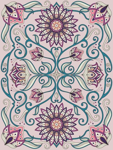 Sierlijke bloem kleurende pagina-ontwerp in prachtige lijn Premium Vector