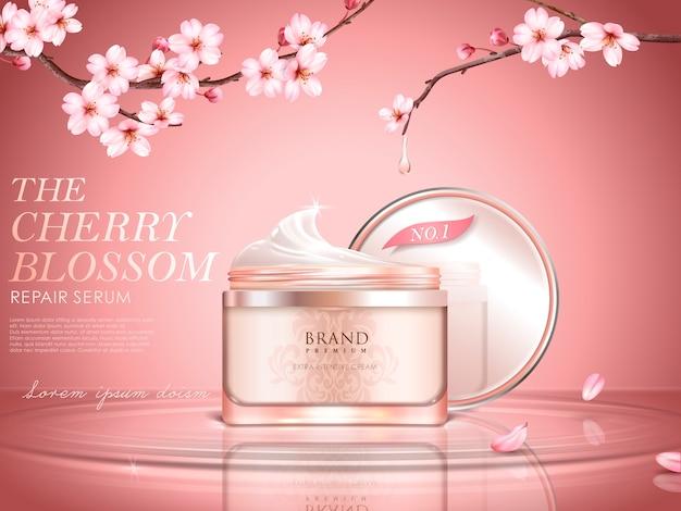 Sierlijke cosmetische advertentie met kersenbloesem, crèmekleurige fles op het wateroppervlak, sakuratakken met gedruppeld water in illustratie Premium Vector