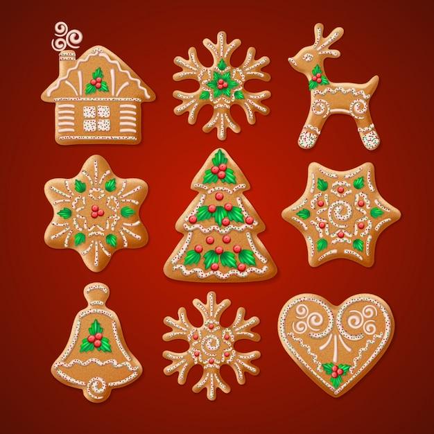 Sierlijke realistische set traditionele kerst peperkoek. Premium Vector