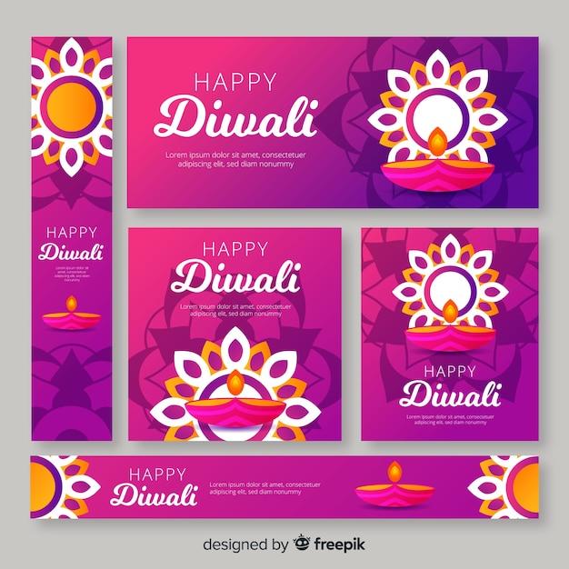 Sierzon en kaarsen voor diwali-evenementbanners Gratis Vector