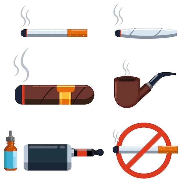 Sigaar en sigaret vector set geïsoleerd op een witte achtergrond. Premium Vector