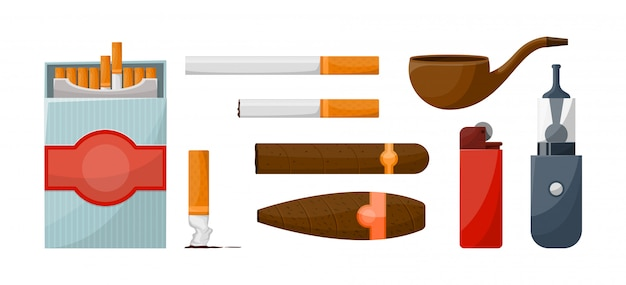 Sigaretten- en rookapparatuur ingesteld. Premium Vector