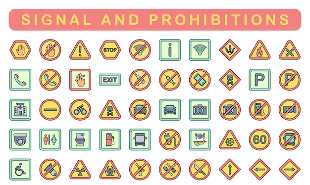 Signaal en verboden, lineaire kleurstijl Premium Vector
