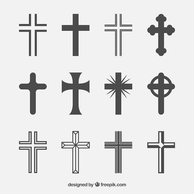 Silhouet christelijke kruis collectie Gratis Vector