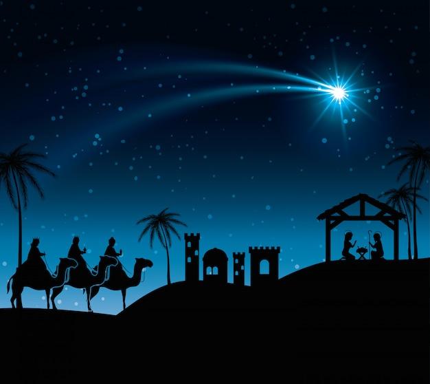 Silhouet drie wijze koningen kribbe ontwerp illustratie Gratis Vector