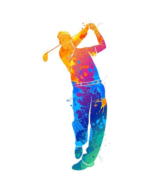 Silhouet golfspeler uit splash van aquarellen. illustratie van verven. Premium Vector