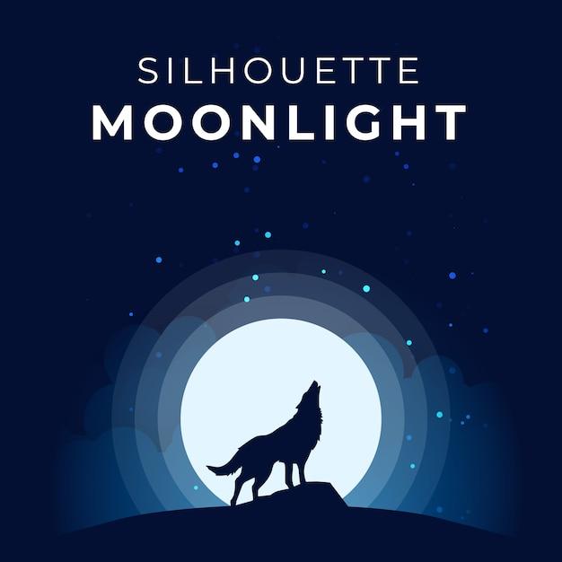Silhouet maanlicht met wolfsgehuil Premium Vector