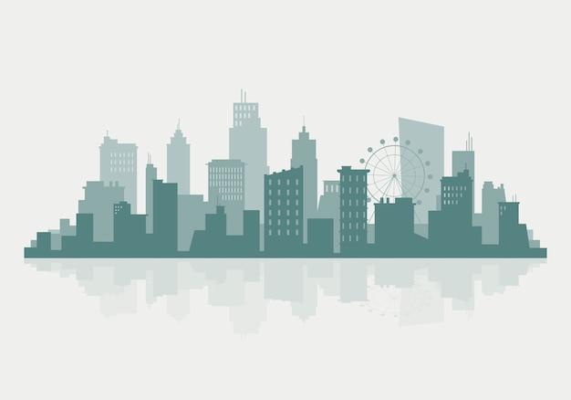 Silhouet skyline illustratie Gratis Vector