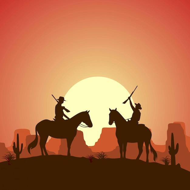 Silhouet twee cowboys die paarden berijden met kanonnen Premium Vector