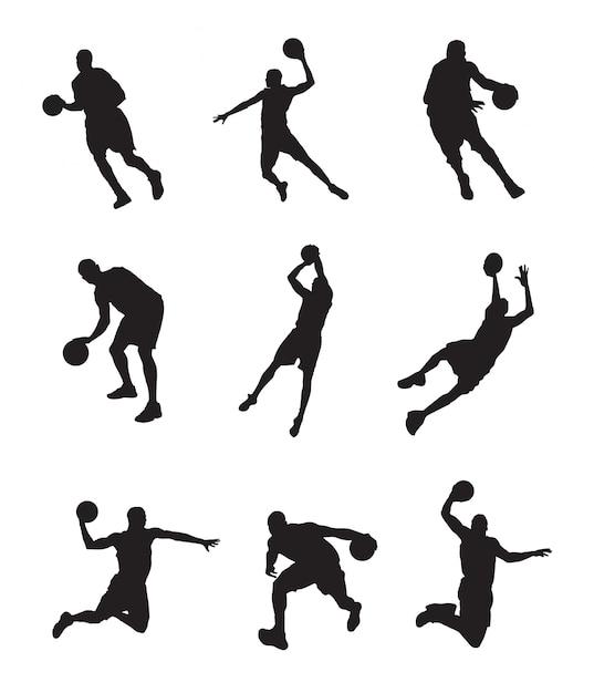 Silhouet van basketbalspeler Premium Vector
