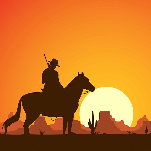 Silhouet van cowboys rijden paarden met geweren. Premium Vector
