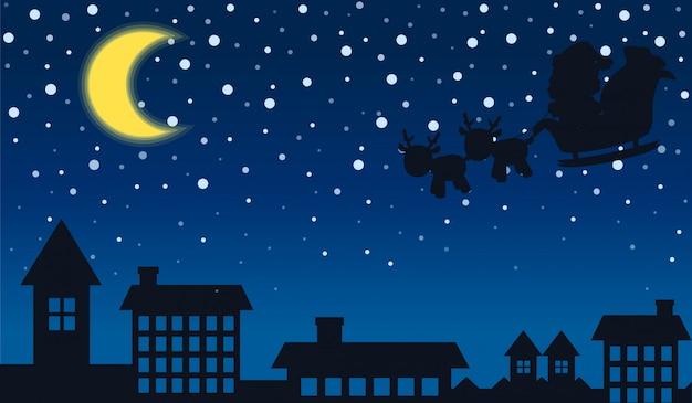 Silhouet van de kerstman en de stad nacht Premium Vector