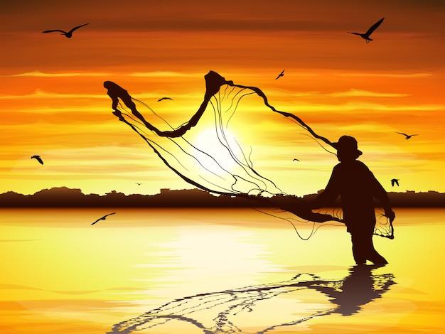 Silhouet van de mens die de vis in schemering vangt. Premium Vector