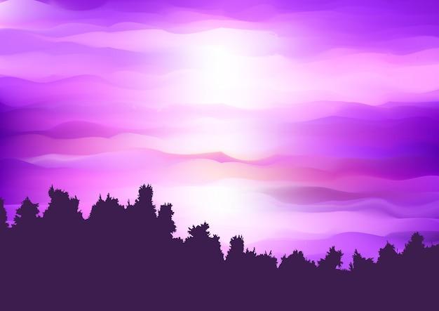 Silhouet van een boomlandschap Gratis Vector