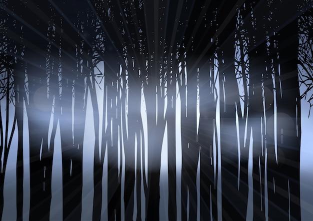 Silhouet van een bos in de nacht Gratis Vector