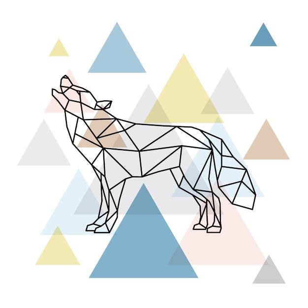 Silhouet van een geometrische wolf. Premium Vector