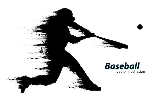Silhouet van een honkbalspeler. vector illustratie Premium Vector