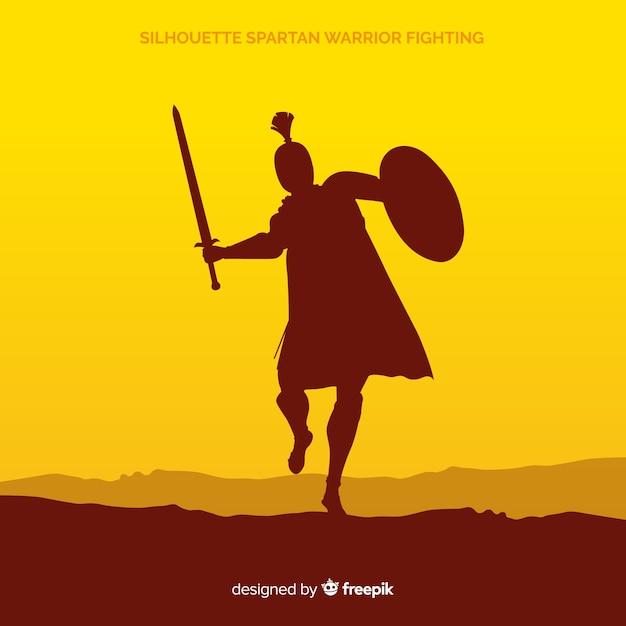Silhouet van een spartaanse krijger opleiding Gratis Vector