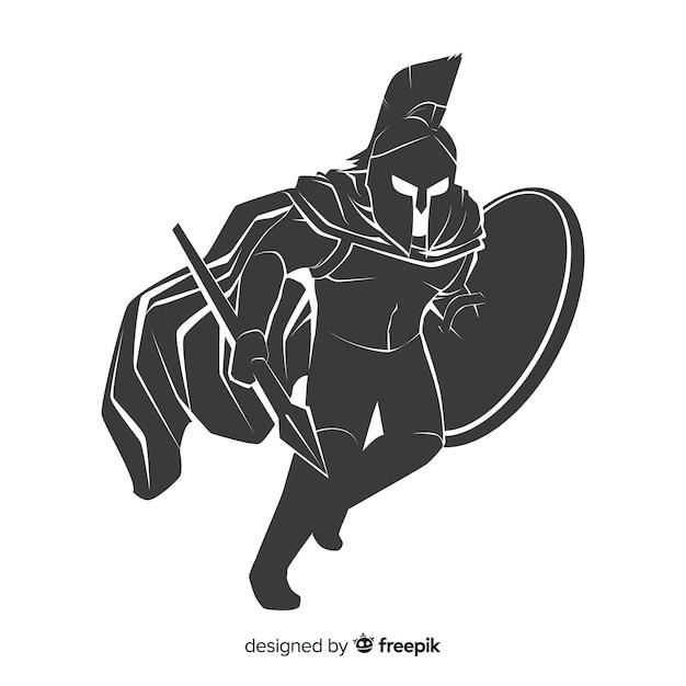 Silhouet van een spartaanse krijger Gratis Vector