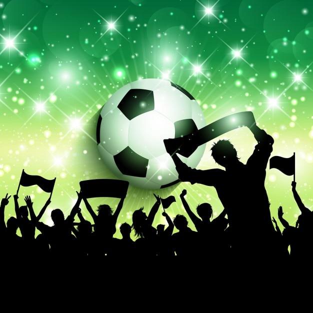 Silhouet van een voetbal of voetbal menigte achtergrond Gratis Vector