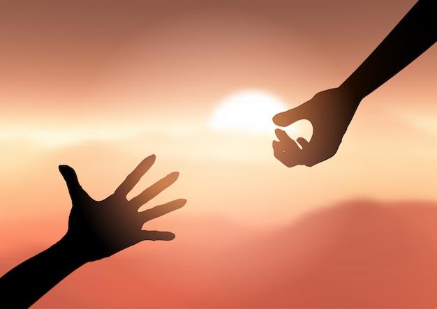 Silhouet van handen reiken om te helpen Gratis Vector