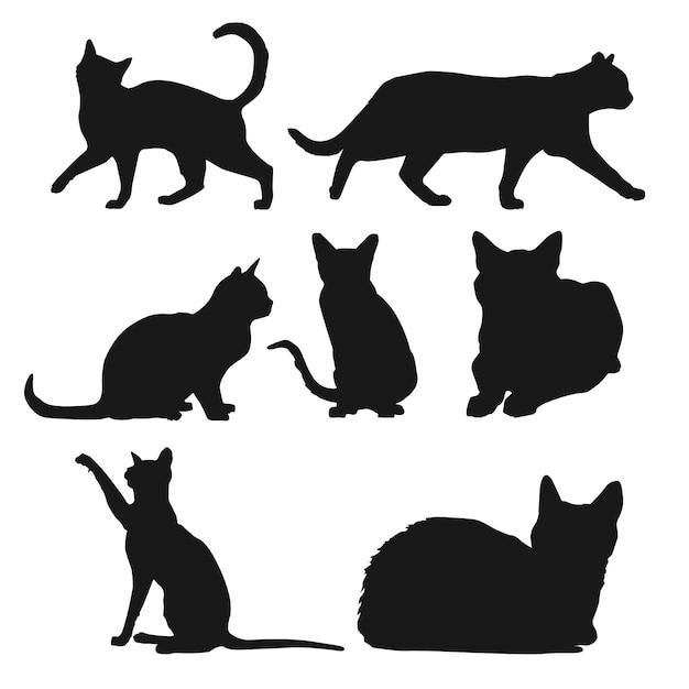 Silhouet van katten in verschillende posities Gratis Vector