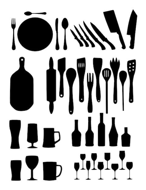 Silhouet van keukengereedschap Premium Vector