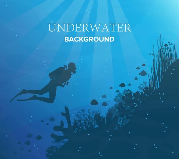 Silhouet van koraalrif met vissen en duiker op de achtergrond van een blauwe zee. onderwater zeedieren. natuur illustratie. Premium Vector