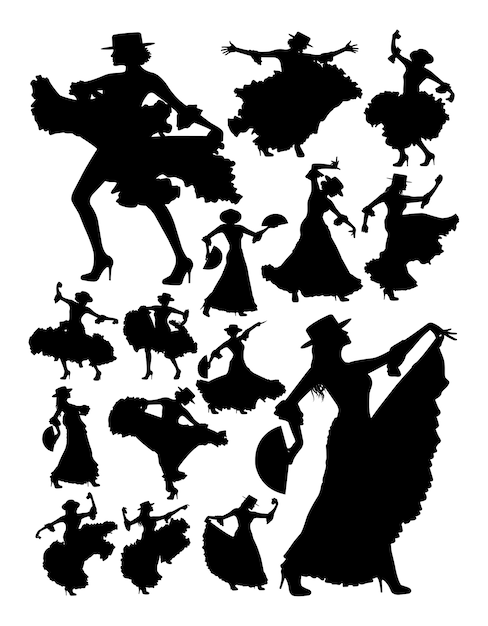 Silhouet van mooie vrouw flamenco dansen Premium Vector