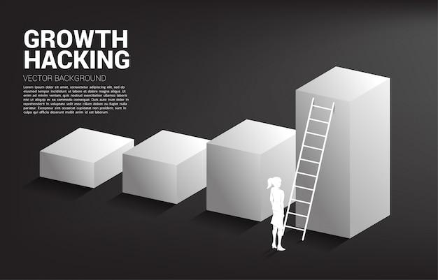 Silhouet van onderneemster klaar om zich omhoog op grafiek met ladder te bewegen. Premium Vector