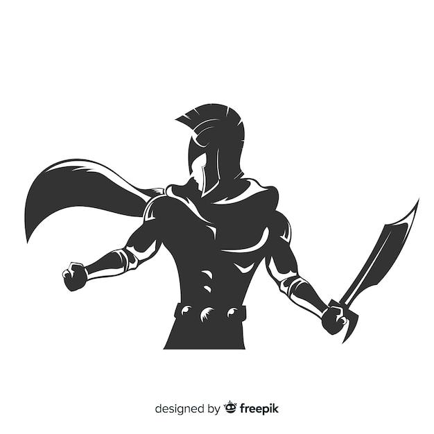 Silhouet van spartaanse krijger met zwaard Gratis Vector