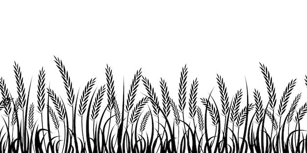 Silhouet van tarwe. silhouet. tarwe in het veld op een witte achtergrond. Premium Vector