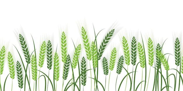 Silhouet van tarwe. tarwe in het veld op een witte achtergrond. Premium Vector