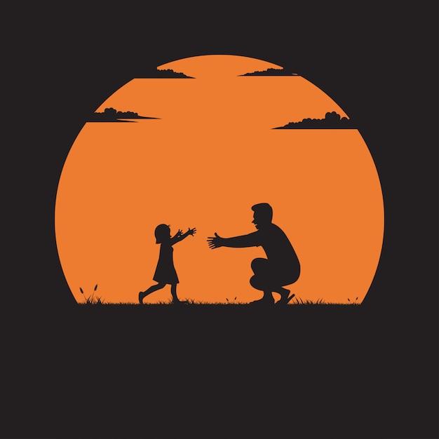Silhouet van vader en dochter Premium Vector
