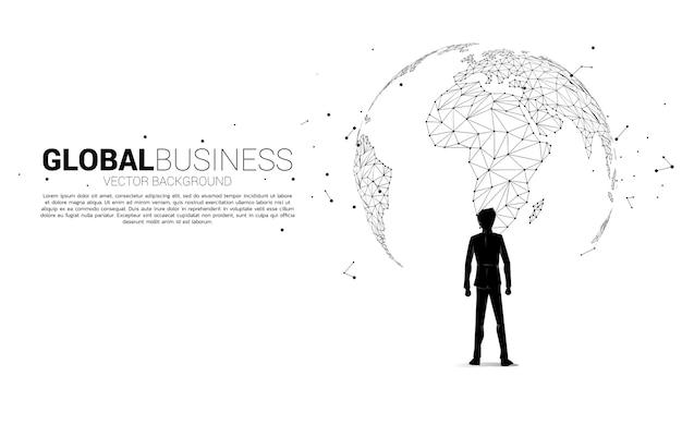 Silhouet van zakenman die zich met de bol bevindt. bedrijfsconcept van de missie van het werelddoel. Premium Vector