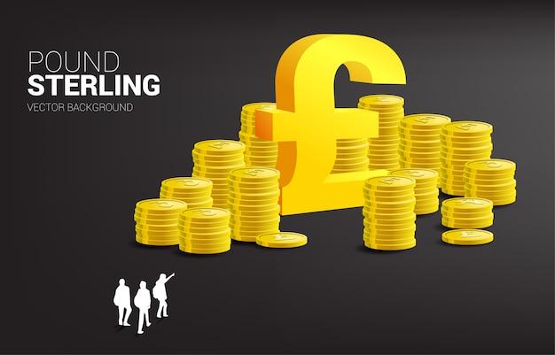 Silhouet van zakenman groep punt pond pictogram en stapel van munt. succesbedrijf in groot-brittannië. Premium Vector