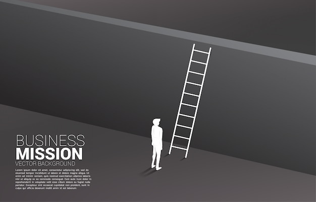 Silhouet van zakenman klaar om de muur met ladder te kruisen. concept visiemissie en doel van zaken Premium Vector