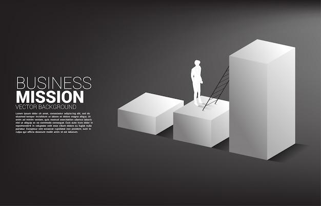 Silhouet van zakenman klaar om omhoog te gaan op staafdiagram met ladder. concept visie missie en doel van zaken Premium Vector