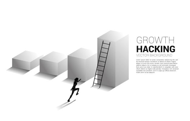 Silhouet van zakenman klaar om omhoog te gaan op staafdiagram met ladder. Premium Vector