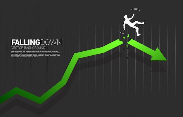 Silhouet van zakenmanslip en het vallen neer van barstende groeiende pijl Premium Vector