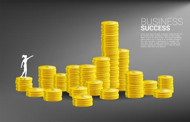 Silhouet van zakenvrouw punt naar voren stapelen munt. concept de groeizaken, succes in carrièrepad. Premium Vector