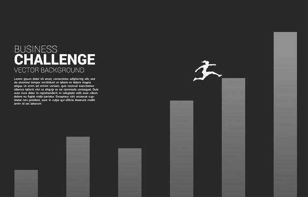 Silhouet van zakenvrouw springen naar hogere kolom van de grafiek. concept van risico en succes in het bedrijfsleven Premium Vector