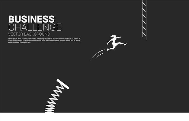 Silhouet van zakenvrouw springen naar ladder met springplank. concept visie missie en doel van zaken Premium Vector