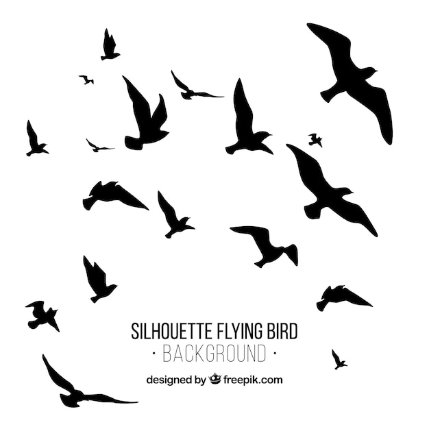 Silhouet vliegende vogel achtergrond Gratis Vector