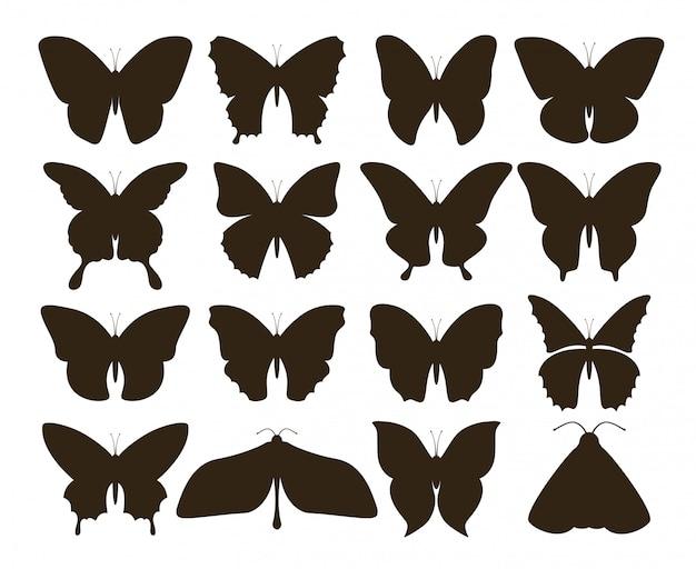 Silhouet vlinders. eenvoudige verzameling handgetekende zwarte tattoo-vormen, vintage vlieginsectenset. vlinder tekening Premium Vector
