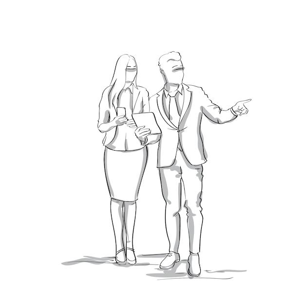 Silhouet zakelijke man en vrouw praten zakenman punt vinger te kopiëren ruimte schets ondernemers paar Premium Vector