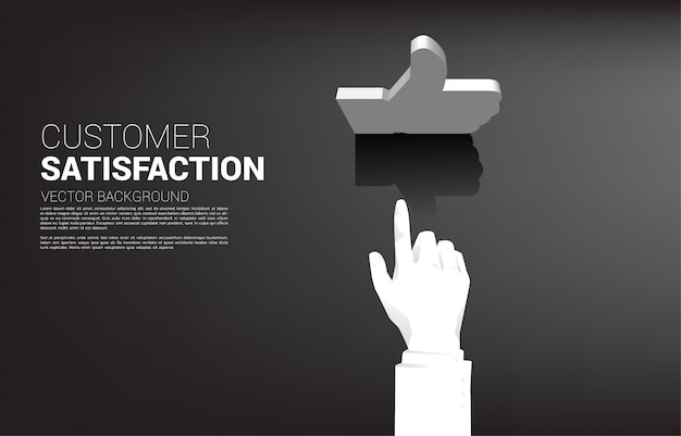 Silhouet zakenman hand aanraken 3d duim omhoog pictogram. concept van klanttevredenheid, klantbeoordeling en rangorde. Premium Vector