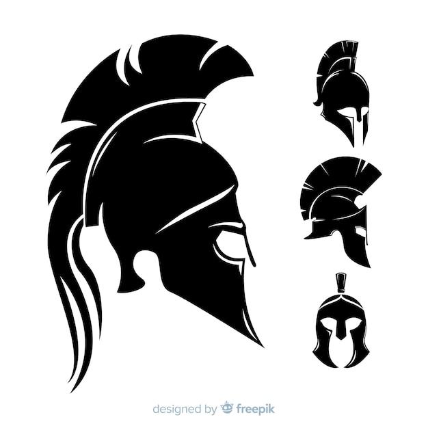 Silhouetinzameling van spartaanse helmen Gratis Vector